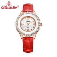 Gladster Luxury Japan TMI PC21 Quartz Leather Women Watch Water Resistant Hardlex Glass Lady Watch Rhinestone Female Wristwatch