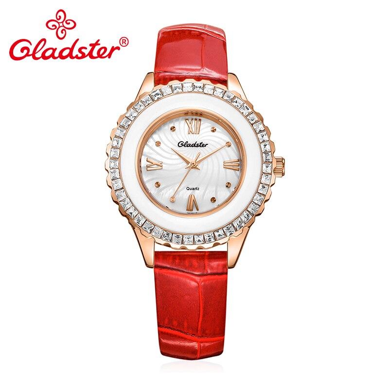 Gladster luxe japon TMI-PC21 Quartz cuir femmes montre résistant à l'eau Hardlex verre dame montre strass femme montre-bracelet