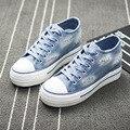 2016 весна осень Европа США новая мода Джинсы холст обувь студент повседневная лоскутная женский толстым дном комфорт плоские туфли синий