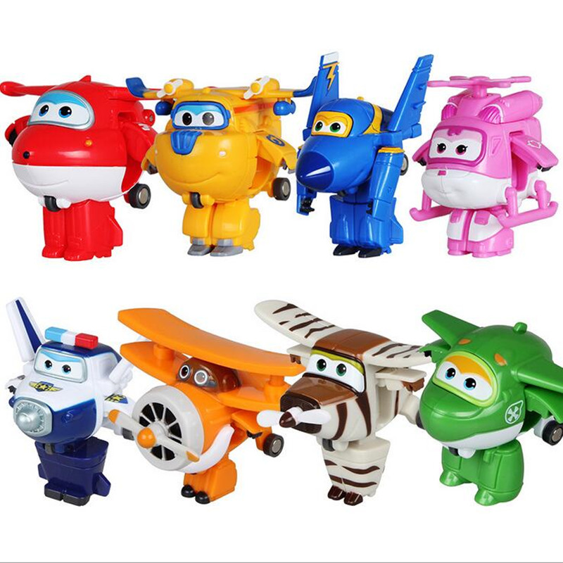 Super Wings Mini Airplane ABS Robot toys Action Figures Super Wing Transformation Jet Animation Children Kids Gift manguera expandible