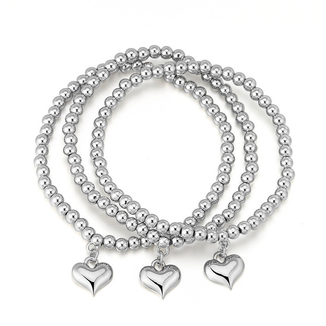 Fashion Beaded Women's Bracelets with Heart Shaped Pendant 3 pcs Set