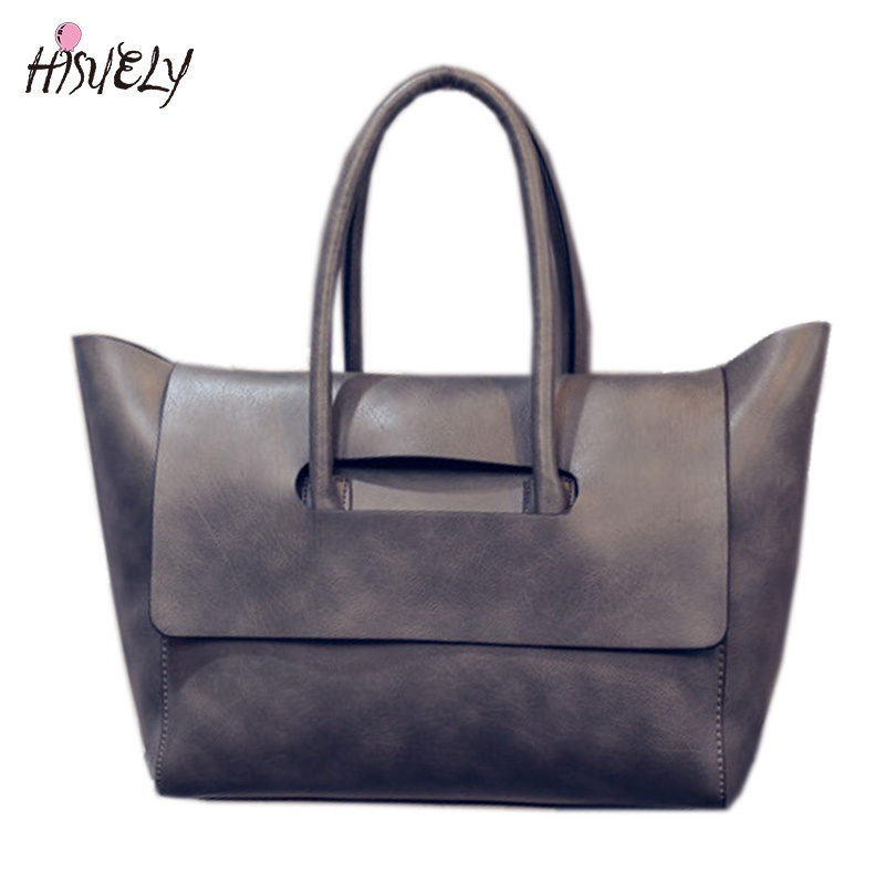2017 New Fashion Women Tote Bag High Capacity Female Casual OL Business PU Leather Handbags Black Brown Gray Bolsas Femininas