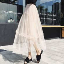 Women High Waist Layered Mesh Tulle A-Line Skirt Imitation Pearl Handmade Beaded Tiered Ruffles Prom Party Pleated Swing Dress цена 2017