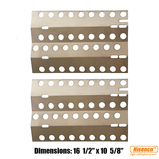 "Hisencn BBQ Replacement Stainless Steel 2 Pcs Heat Plate, Burner Cover for Select DCS Gas Grill Models ( 16 1/2"" x 10 5/8"")"