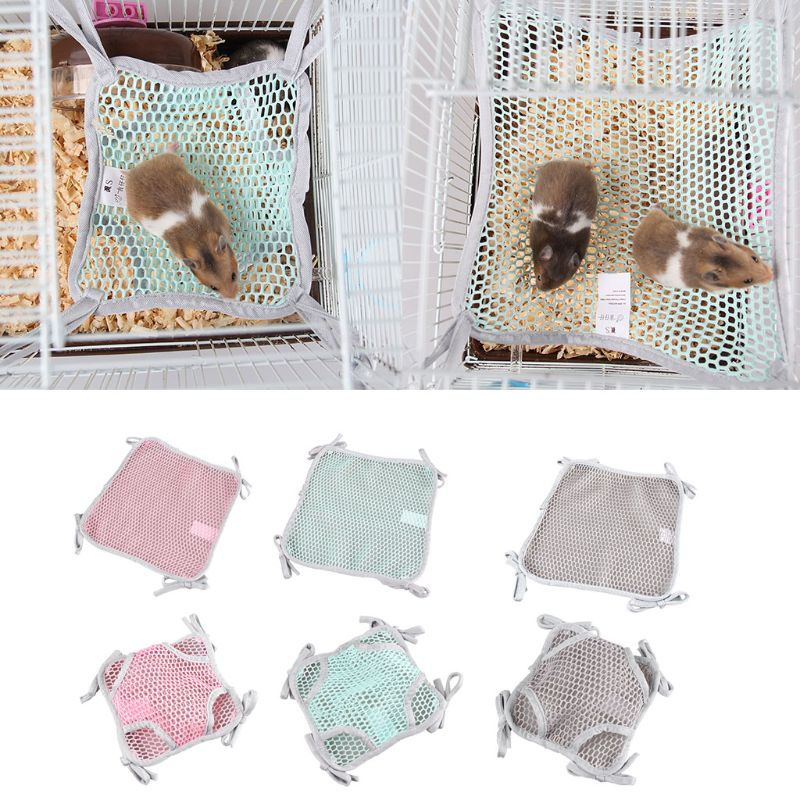 1Pcs Hamster Hammock Hanging Mesh Sleeping Mat Bed Rat Toys Swing For Small Pet Chinchilla