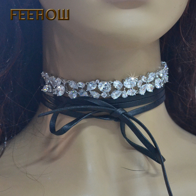 FEEROW European Style Popular PU Leather Chokers Necklaces Top Quality Marquise Cubic Zirconia Neck Chain For Women Girl FWTP001