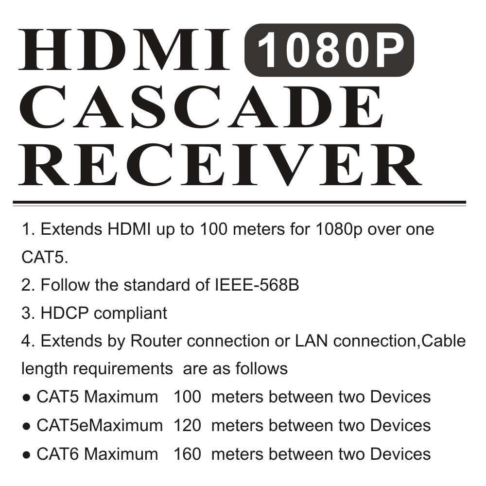 Receptor hdmi rx rx remetente tx sobre tcp ip cat5 cat5e cat6 rj45 hdmi ethernet receptor 1080 p hdmi divisor