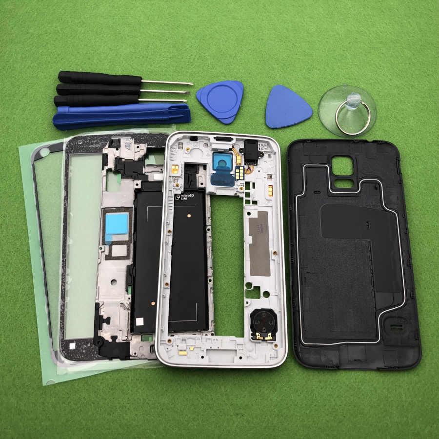 Untuk Samsung Galaxy S5 SV G900 I9600 G900F G900H/P Full Housing Case Bezel Tengah Bingkai Back Cover + depan Kaca Lensa Alat