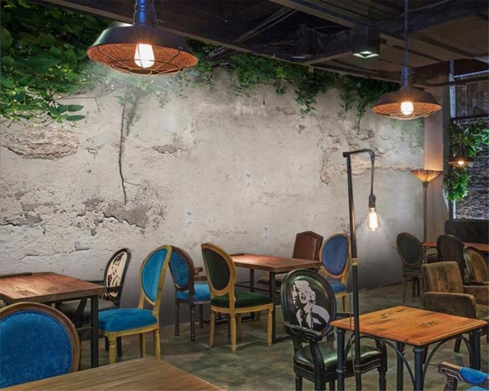 Wellyu Custom Wallpaper 3d Photo Murals Green Plant Concrete Wall Living Room Bedroom Wallpaper For Walls 3 D Papel De Parede