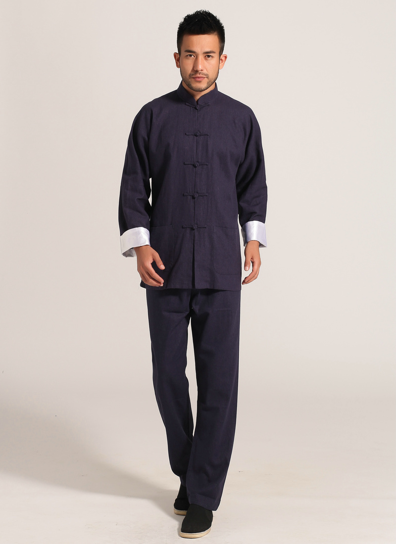 Navy Blue Men Cotton Linen Long Sleeve Jacket Pants Sets Suit hombre chaqueta Size S M L XL XXL XXXL Mim2c2U