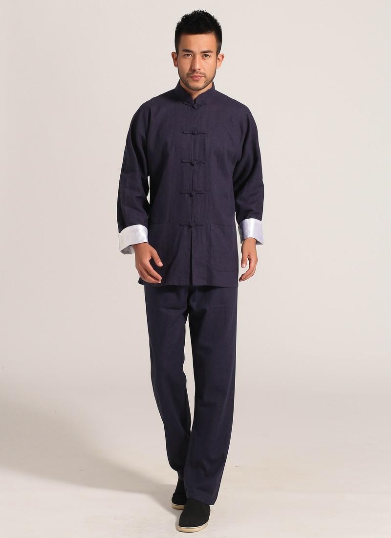 Navy Blue Men Cotton Linen Long Sleeve Jacket Pants Sets Suit hombre chaqueta Size S M L XL XXL XXXL Mim2c2U