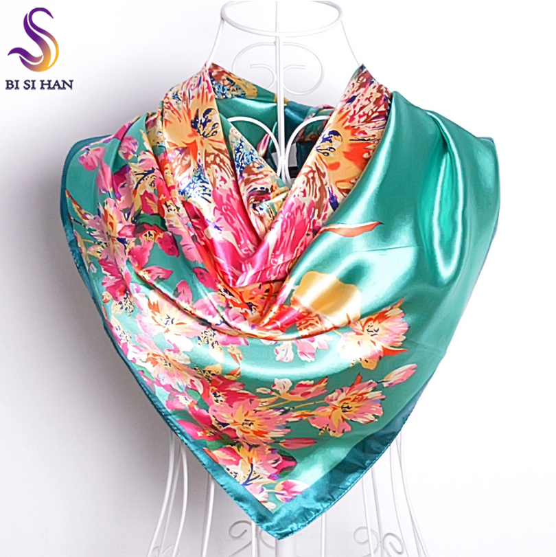 Ladies Green Silk   Scarf   Printed 2016 New Design Elegant Women Accessories Bright Silky Satin Large Square   Scarves     Wraps   90*90cm
