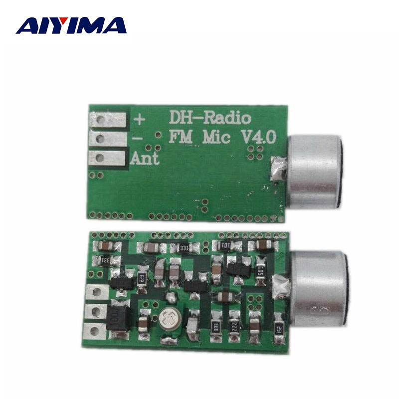 AIYIMA Mini FM Microphone FM Transmitter Module MIC Wireless Audio Transmitter 100MHz Mini Bug Wiretap Dictagraph Interceptor