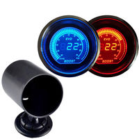 EE support 2 52mm Blue/Red LED Light PSI Turbo Boost Gauge Vacuum Meter + Pod Holder For Car Auto Clocks XY01
