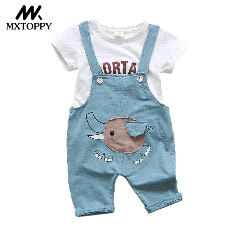 MXTOPPY Baby Girls Clothes 2018 Fashion Baby Clothes Set Strap+T-shirt 2PCS Newborn Girls Clothes