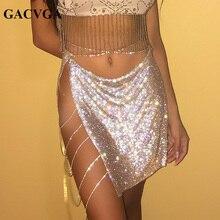 GACVGA 2019 Crystal Summer Skirt Beach Slits Tassel Skirts Womens Metal Bottom Party Mini Skirt Saia Faldas Mujer