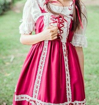 Mori Dziewczyny Gothic Lolita Koronki Sukienka JSK Light Green Ribbon Lace-up Halterneck Suknie
