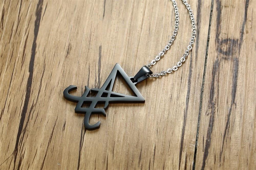 Demon Side of Lucifer Satanic Jewelry Seal Sigil Symbol of Choronzon  Pendant Necklace in Black Gothic Pagan Satan Unisex Jewels