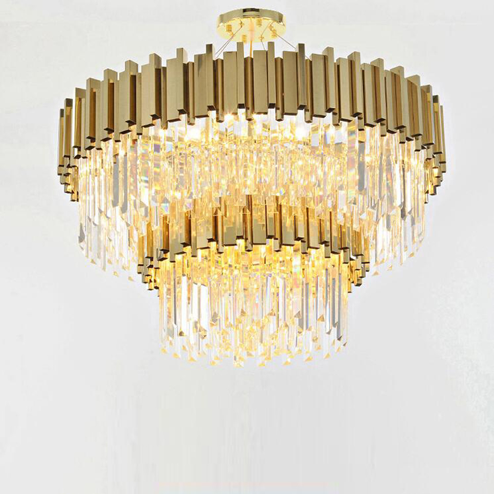 round design gold crystal chandelier modern lamp AC110V 220V luxury living room lights , hotel large chandelier lighting silver wings silver wings 31mc0198 38 44