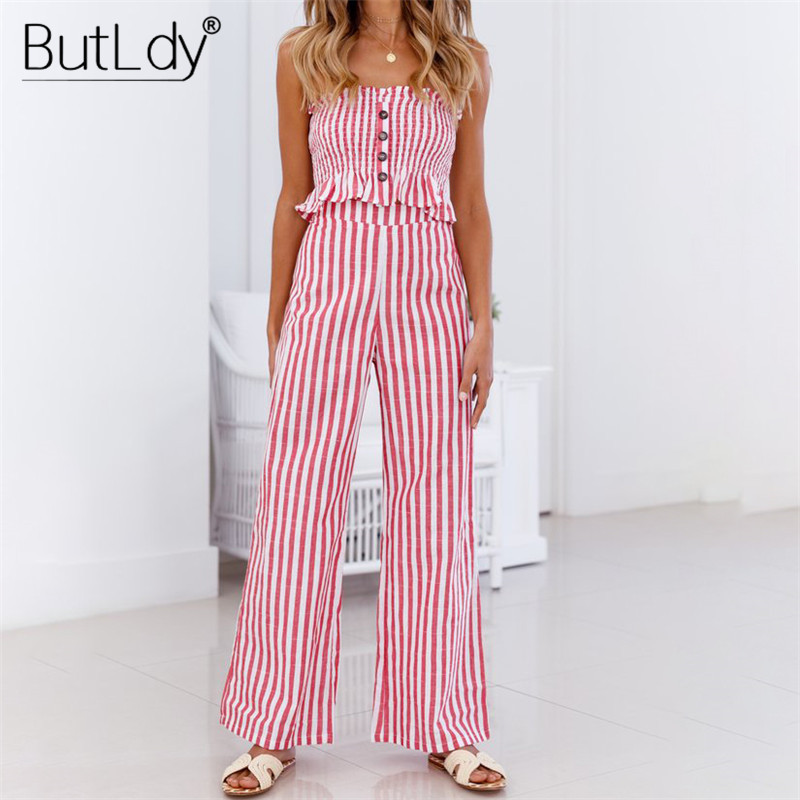 Ruffle Striped Jumpsuit Women Two Piece Sets Off Shoulder Strapless Backless Jumpsuits Summer Rompers 2019 Loose Long Bodysuit