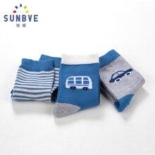 Six Pairs Per PVC Bag Baby Boy Socks Autumn Winter Design Children Cartoon Character Jacquard Loose Calf Cotton Kid Hosiery