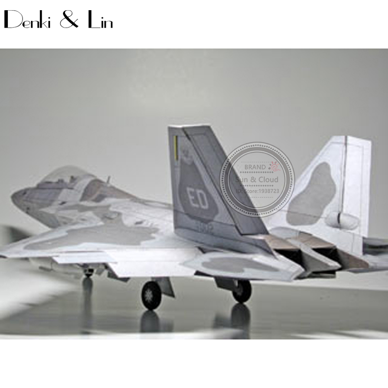 1:32 DIY 3D American Lockheed Martin F-22 Raptor Fighter Plane Aircraft Paper Model Assemble Puzzle Game DIY Kids Toy