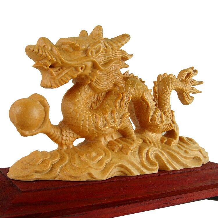 Sculpture en bois chinois zodiaque dragon ornements haut de gamme maison Feng Shui ornements accessoires de voiture