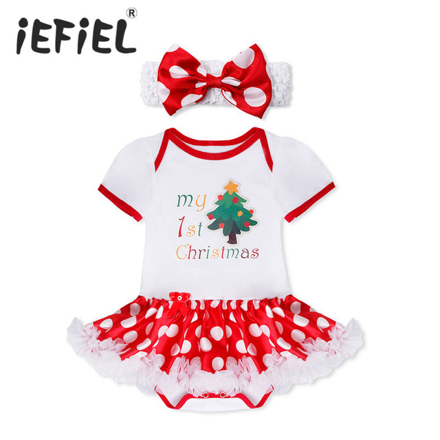 fe2538417110b 2017 New Christmas Baby Costumes Cloth Infant Toddler Baby Girls My First  Christmas Outfits Newborn Christmas Romper Set