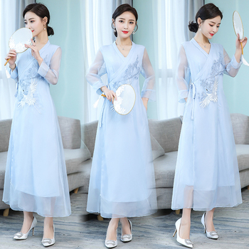 Asia & Pacific Islands Garment embroidered modern Women kaftans Gown New Style Robe Dress Novelty Performance Clothing 2
