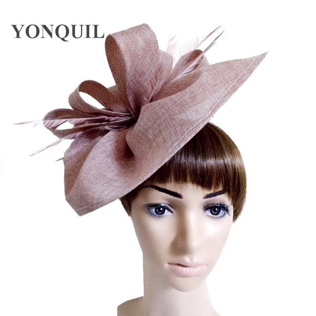 fc59e5b32a951 2018 Peach Vintage big derby loop fascinators hats red ladies event feather  headwear race hair accessories fedora pillbox hats