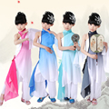 Новые Дети Yangko Танец Одежды Китайский Танец с Веером Костюм Классический Зонтик Танец Костюмы Национальный Костюм