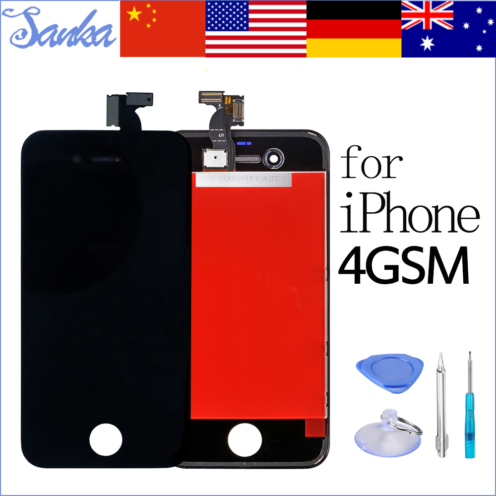 SANKA Test Replacement LCD For iPhone 4 A1332 Display Digitizer Front Glass Touch Screen Assembly Ecran Pantalla Black & Tools