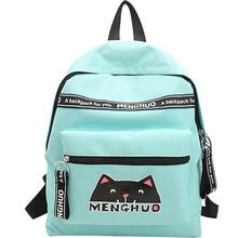 Menghuo прекрасный кот печати рюкзак женщины холст рюкзак школьные сумки для подростков Женские повседневные милые рюкзак Mochila