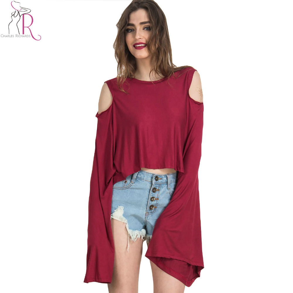 Wine Red Long Bell Flared Sleeve Crop Top T Shirt Cut Out