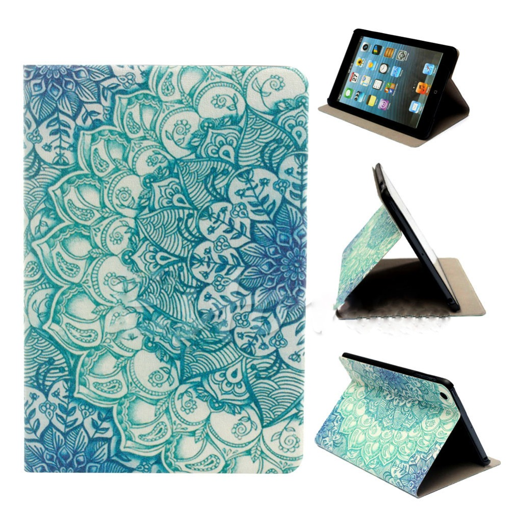 Hot Flower Pattern Flip Stand PU Leather Case Cover For Apple iPad Mini 1 2 3 vintage wood grain style case for apple ipad mini 2 3 pu leather flip stand cover interchangeable for ipad mini 1 2 3 7 9 case