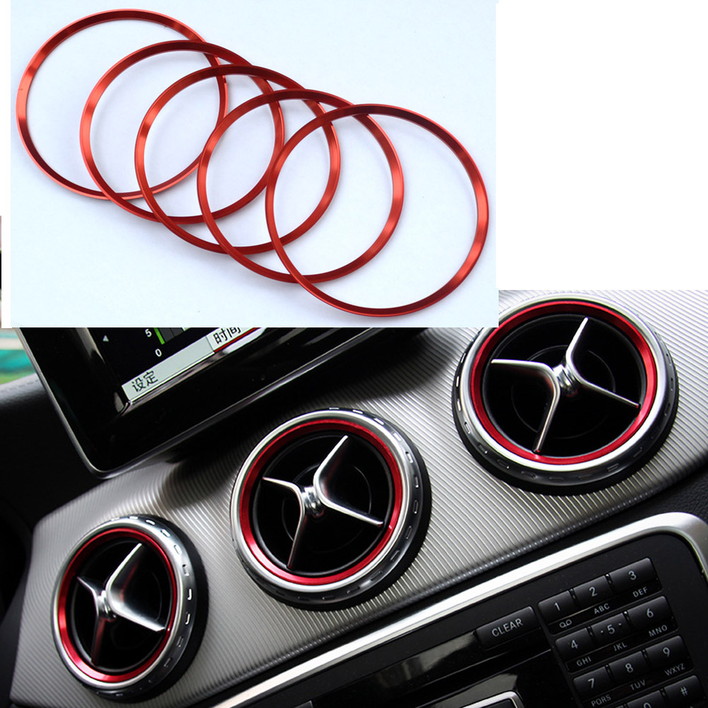 5 pcs Aluminium alloy Air outlet sticker/Instrument panel Air outlet decoration ring sticker Fit for Mercedes Benz GLA CLA Mercedes-Benz CLA-класс