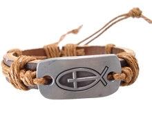 2013 moda artesanal de peixes e símbolo da cruz charme genuíno da correia de couro wrap Braceletsjewelry do vintage dos homens das mulheres