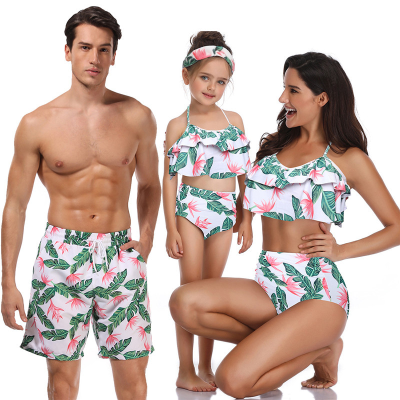 HTB1Zs4dLgTqK1RjSZPhq6xfOFXaA - Summer Family Matching Outfits Swimwear Mother Daughter Kids Swimsuit Bikini Bathing Suit Father Son Shorts Swimwear Clothes