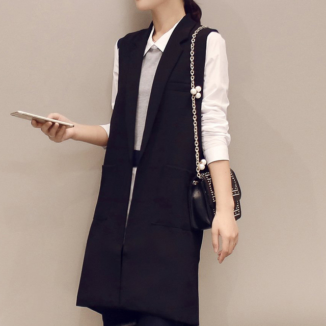 The new 2016 Spring and Autumn Korean was thin sleeveless vest Thin vest Autumn jacket In the long section vest
