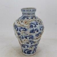 9 Antyczne YuanDynasty porcelany butelki, niebieski i biały smok wody morskiej wazon, Ręcznie malowane rzemiosła, Dekoracji, zbieranie i Ozdoby
