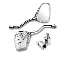 Kongqiabona-UK Motorcycle Rearview Side Mirror Skeleton Skull Hand Chrome for Universal Rearview Mirror Reversing Mirror Reflector