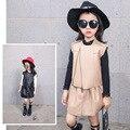 Terno para crianças queda 2016 novas crianças se vestem conjunto skirtpersonality couro cor PU de couro de duas peças terno frete grátis