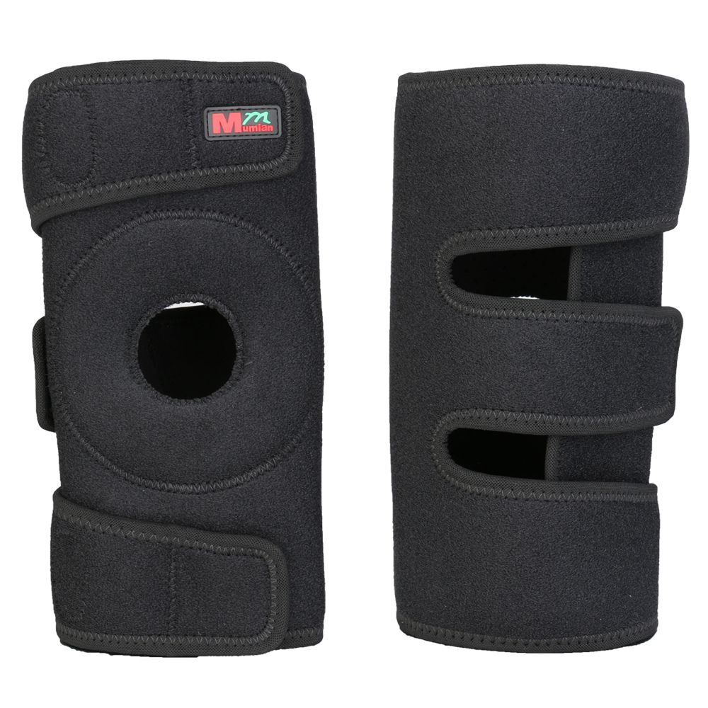 1 pcs Mumian B05 Adjustable Sport Leg Knee Brace Wrap Protector Pad Sleeve Cap Patella Guard 2 Spring Bars,One Size,black