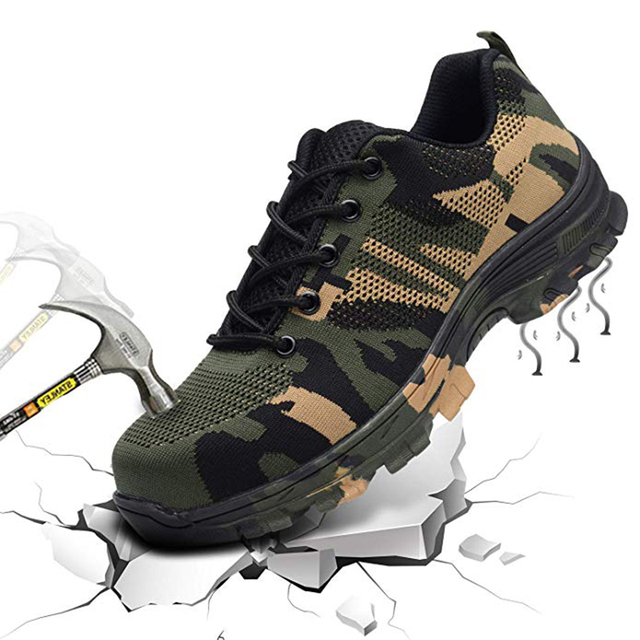 Camouflage Steel Toe Shoes Men Work Safety Boot Breathable Work Safety Shoes For Man Boots Puncture Proof Indestructible Shoes
