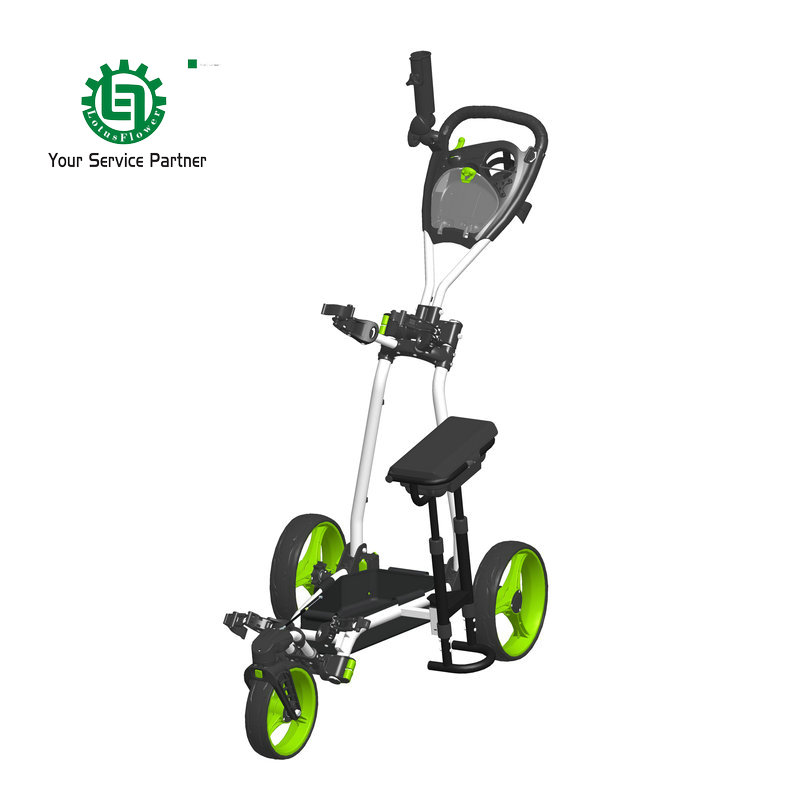 3-Wheel Golf push trolley with Umbrella holder Foldable Golf push buggy Handle brake to control front wheel Golf push cart simulation mini golf course display toy set with golf club ball flag