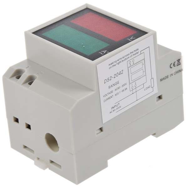 LIXF HOT Din-Rail AC 110V/220V Digital Voltmeter Ammeter Red Volt Green Amp Meter LED Display