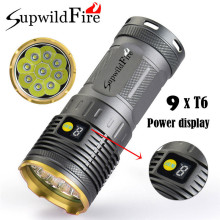 25000LM 9 x Light XM-L T6 LED Power & 3Mode Digital Display Hunting Flashlight Super Bright Waterproof Torch Lamp Bicycle Light