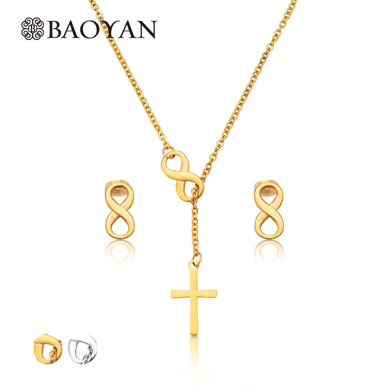 316l Stainless Steel Gold Silver Color Double Infinity Symbol Sign