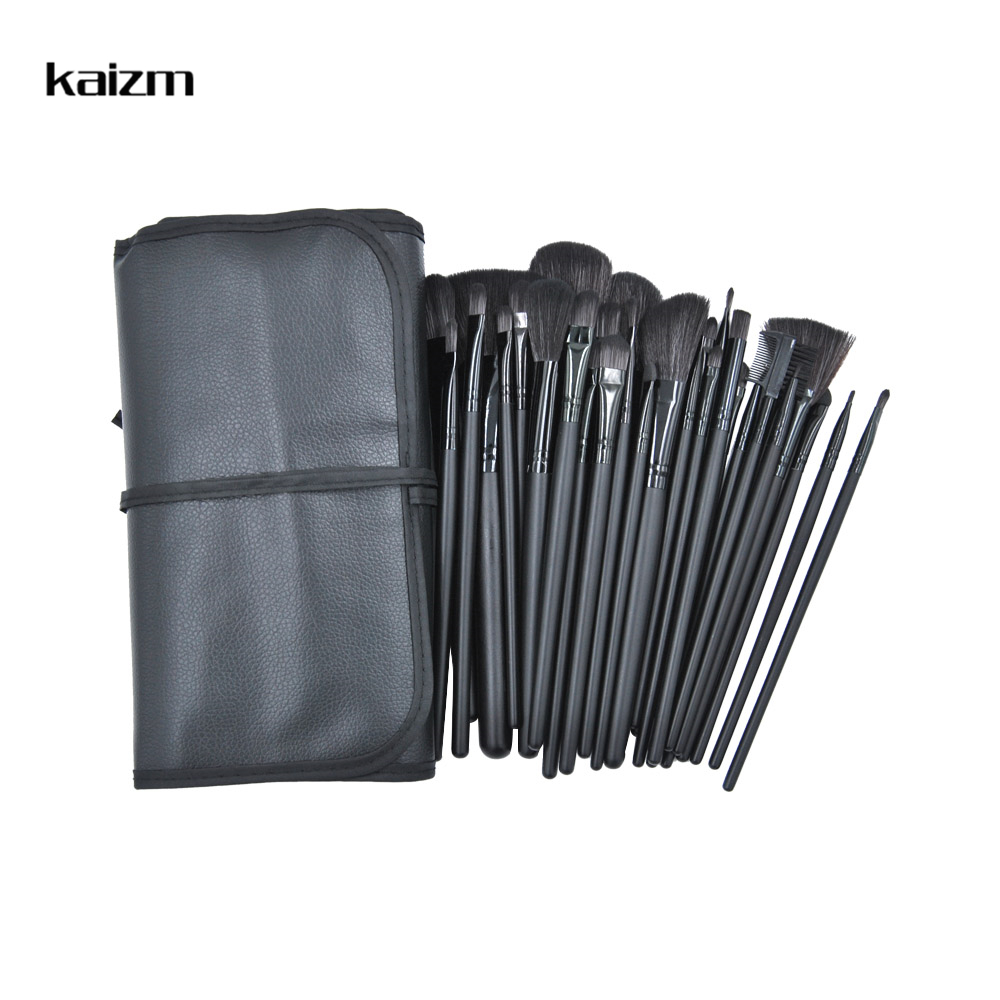 Kaizm 32pcs Makeup Brush Eye Shadows Powder Foundation Blush Brushes for Makeup Bag Wooden Profession 15Pcs Make up Brushes