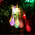 Water drop Solar Powered LED string lights 4.8M 20 Lamp Fairy lights/Wedding party patio lawn porch gate yard led night lamp